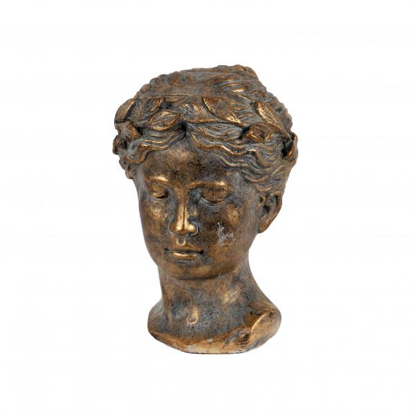 Deko Kopf Helene Zement, 16x15x23cm antik-grau mit gold