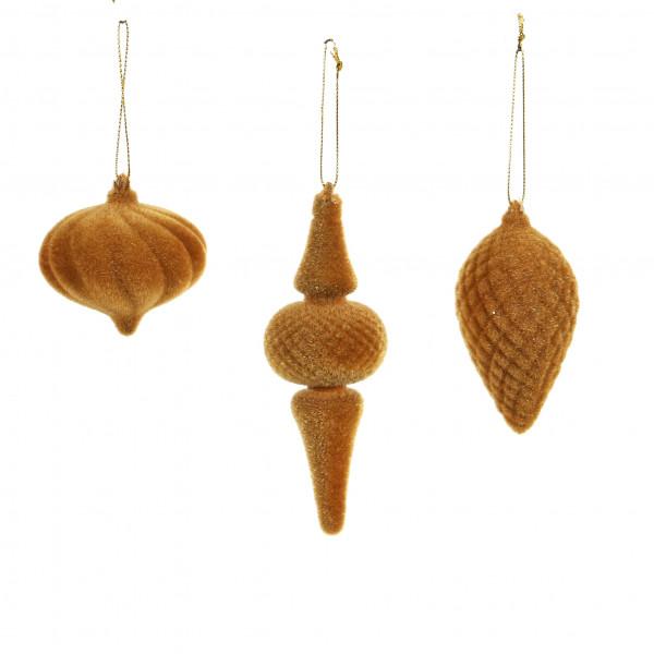Ornamente zum hängen, beflockt, curry , 3 Modelle