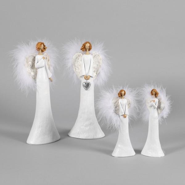 Poly Engel Isabella stehend, 2Mod sort mit weißem Plüsch