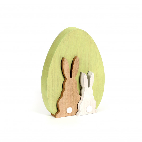 Deko Ei Hasenpaar ,Holz, 3 D grün, 18x14 cm