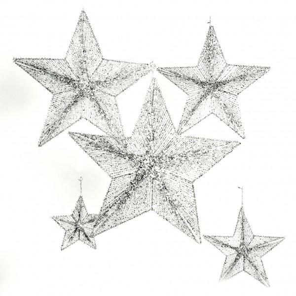 Deko-Hängestern beglittert, 20 cm, silber