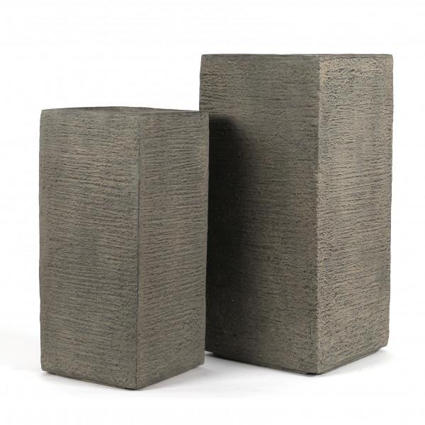 Fibrestone Pflanz-Vase m.Rillenstruktur Set/2, 23xh50/28xh.60cm, schlamm
