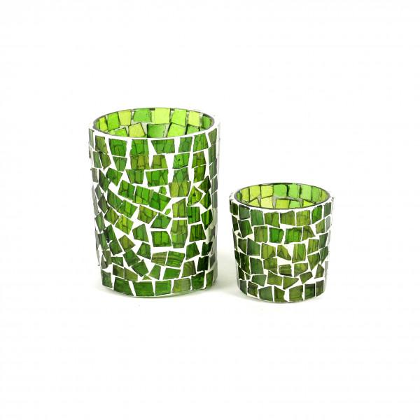 Votivglas Mosaik Glas, grün