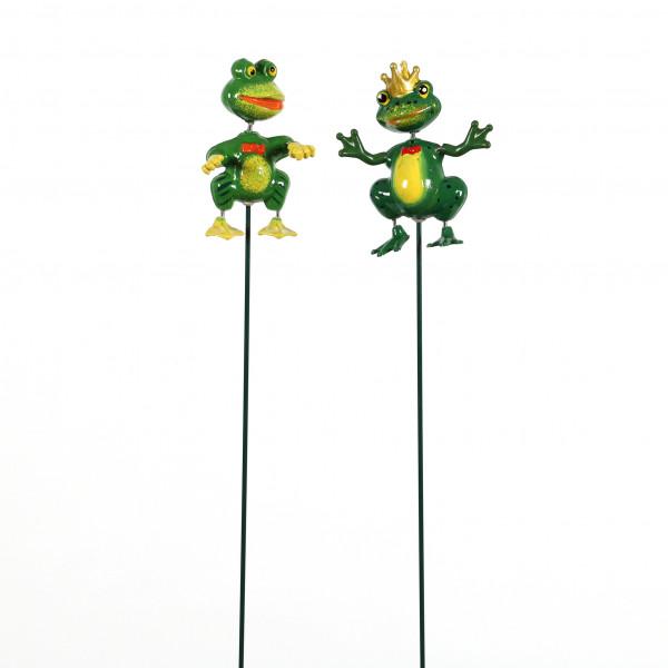 Gartenstecker Wackeltier Frosch,8x3x68 cm, 2 Mod.sort. grün, Kunststoff