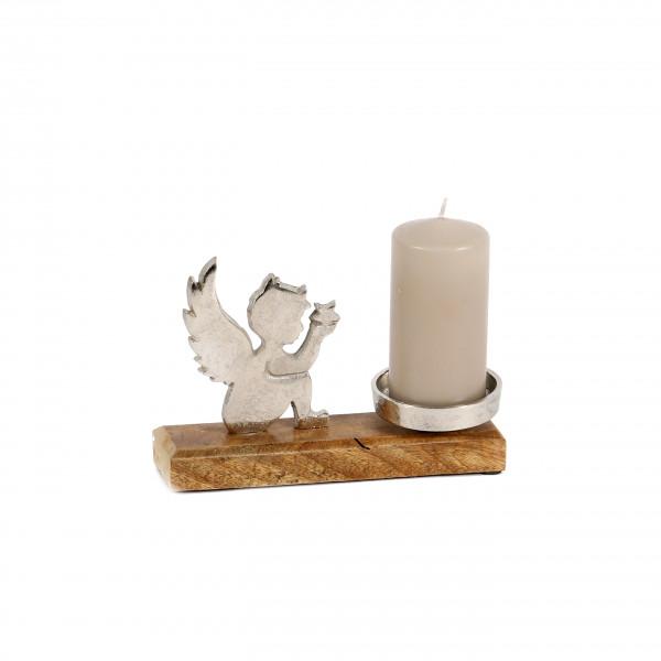 Kerzenhalter Engel sitzend Alu-Holz 20x15x15 cm