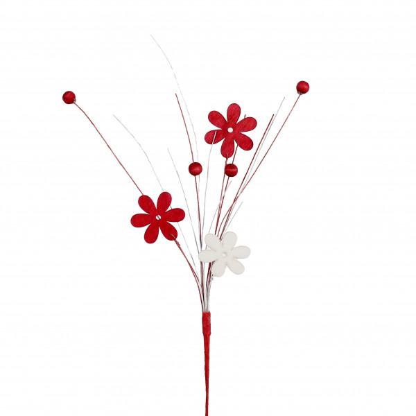 Blumen-Stecker Holz, mit Deko-Perlen rot/weiß, Länge 35cm