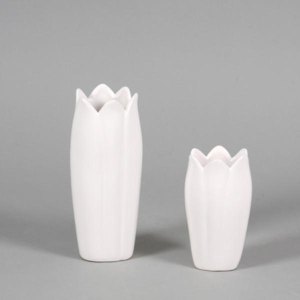 Keramik-Vase Eva 8x8xh.18cm weiß glasiert
