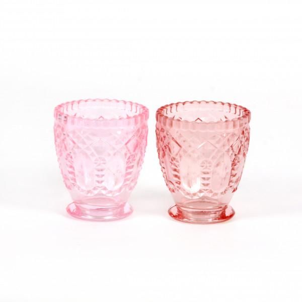 Teelicht Ornament D 9 cm x H10 cm rosa/hellrosa groß