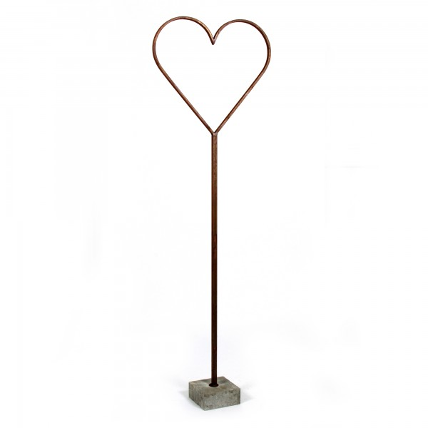 Metall Herz mit Betonfuß rost 100 cm