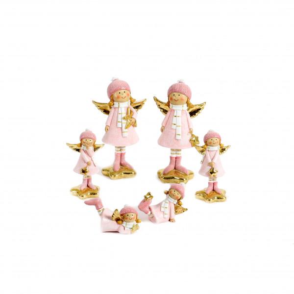 Poly Engel Belana stehend auf Stern rosa / gold, 2 Mod sort
