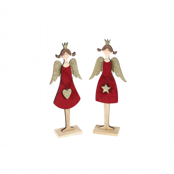 Engel Carmen , Holz, 2 Mod. Herz/Stern rot mit goldenen Flügeln, 12x5x31 cm