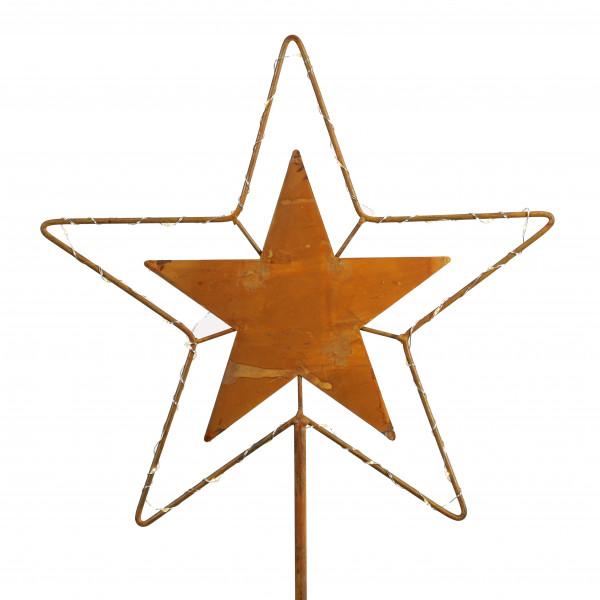 Stecker Stern mit LED Licht rost 44 cm Stab 144 cm