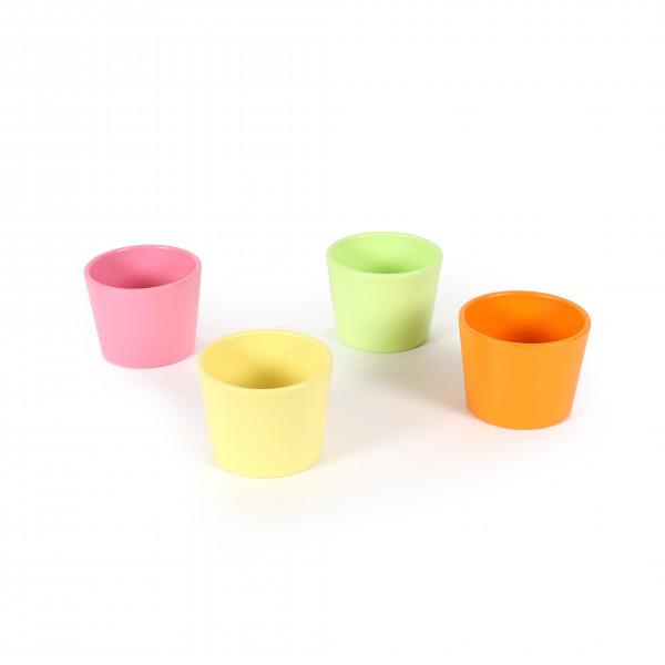 Primeltöpfe 11cm,Netto Aktionspreis,matt 4 farb sort, rosa/gelb/grün/hellorange