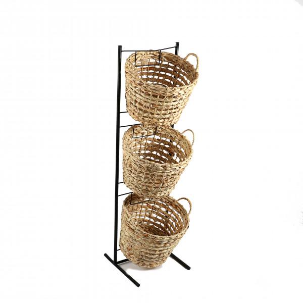 Metall-Ständer für 3 Natur-Körbe als Warenträger, 35x33xh114 cm