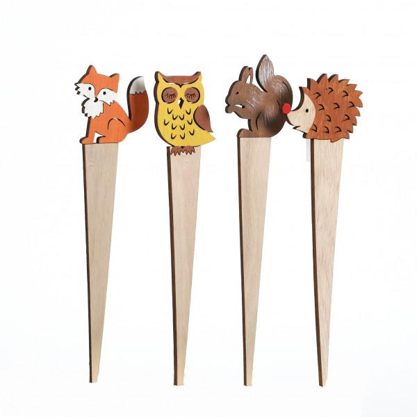 Blumenstecker Herbsttiere Holz 6,5x28 cm, 4 Modelle