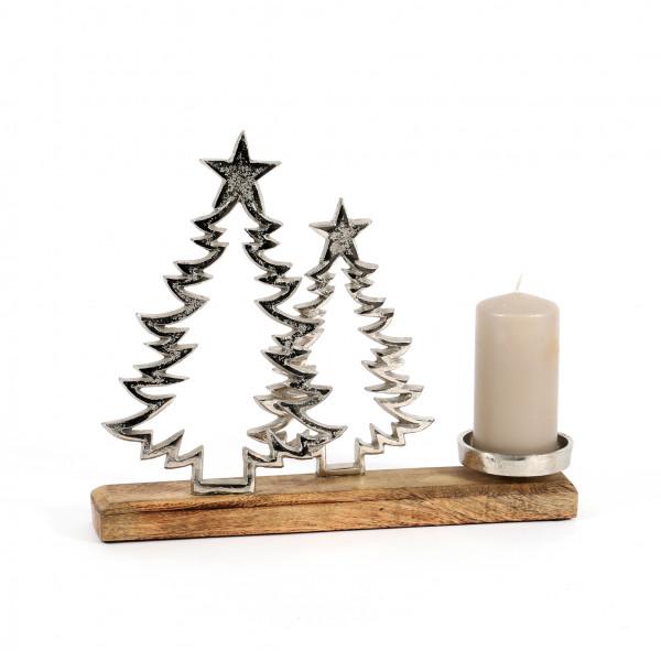 Kerzenhalter Baum Alu-Holz 27x34x5 cm