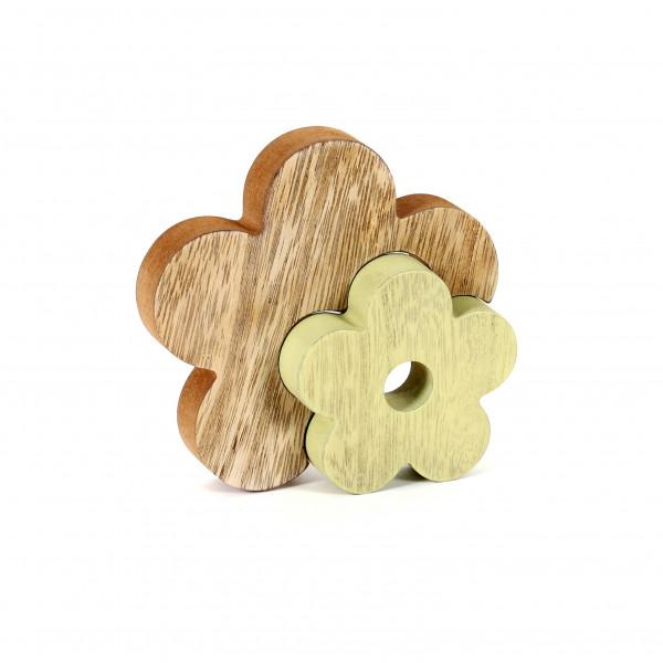 Standdeko 3D Blume MDF Holz, 12 cm natur-grün