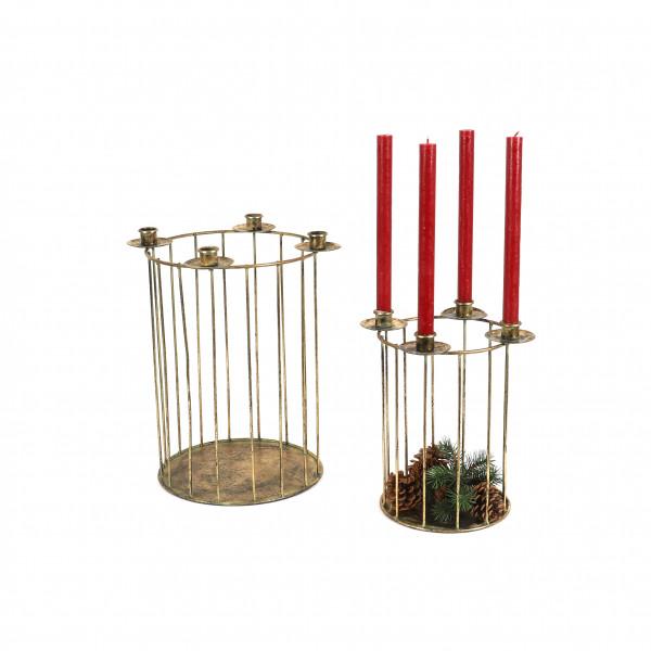 Metallkorb mit 4 Spitzkerzenhaltern