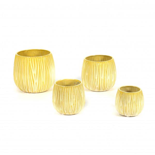 Keramik Topf Italia bauchig m.Rillen gelb Reaktionsglasur