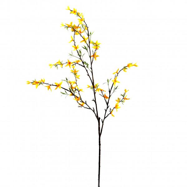Forsythien-Zweig, 124 cm, mit Laub, gelb
