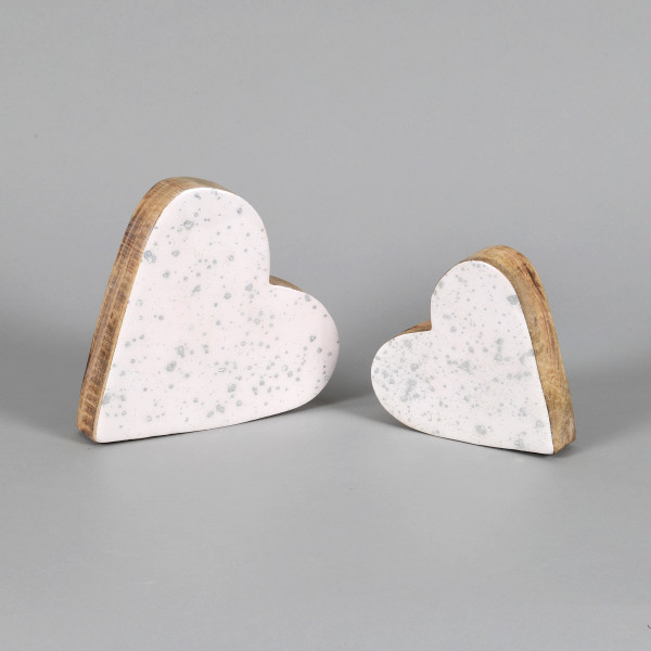 Herz Silberregen Holz mit Emaillelack