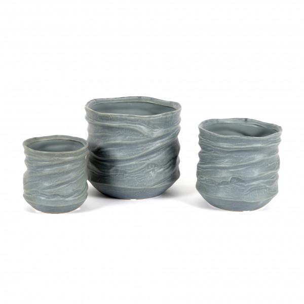 Keramik Zylinder-Topf gewellt, blau- grau matt glasiert