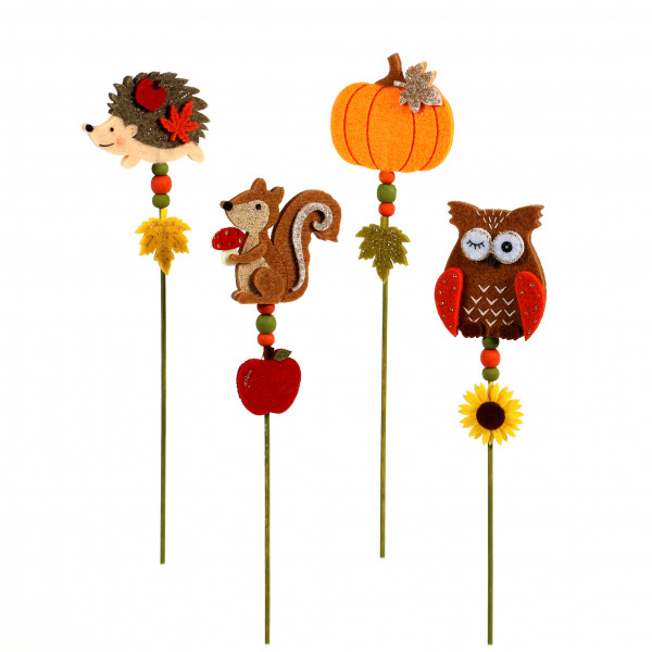 Herbststecker, Igel-Eule-Eichhörnchen,Kü rbis, Filz, 29 cm, 4 Modelle