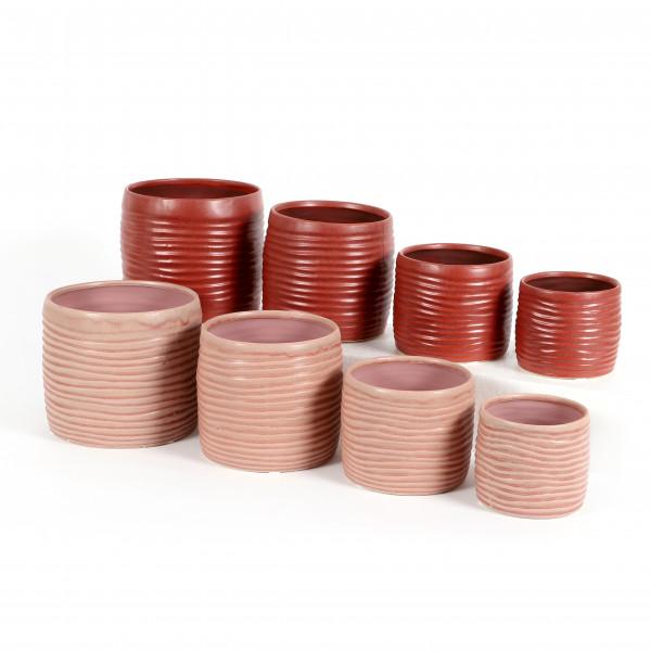 Keramik Zylinder-Topf mit Rillen, rosa- mauve matt sortiert