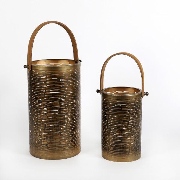 Laterne Askim rund mit Ledergriff,Metall gold-antik