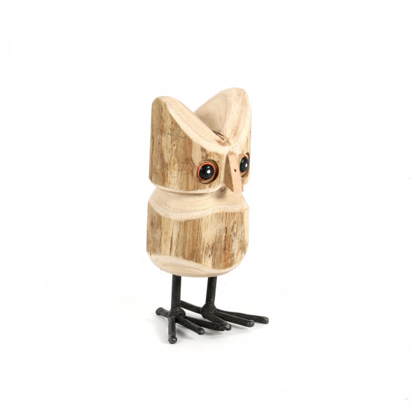 Eule, Holz-Metall 8x8x16 cm