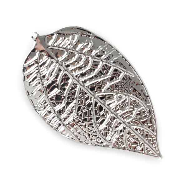 Be Leaf 25 Blätter m.Loch Meta ll 7,5x4,5 cm silber