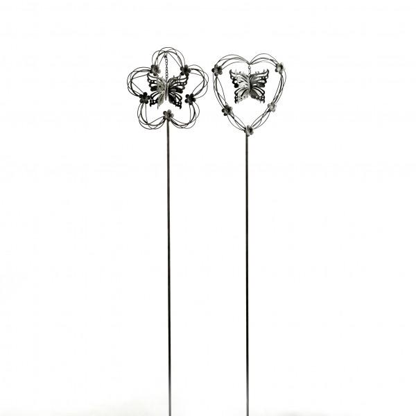 Gartenstecker Herz+Blume m.Schmetterling Metall, 16x16x100 cm, 2 Modelle