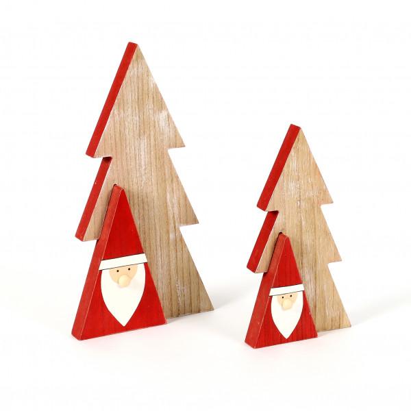Baum mit Santa, MDF, Natur-rot