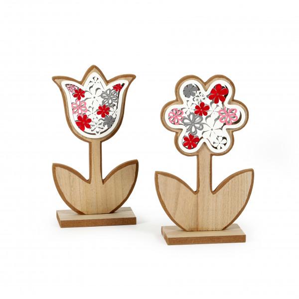 Standdeko Blume Holz,2 Modelle 10,5x19/11,5x19 cm