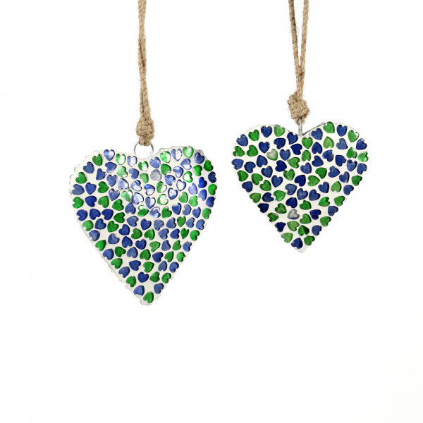Herz z.hängen Coeur Glas, blau-grün