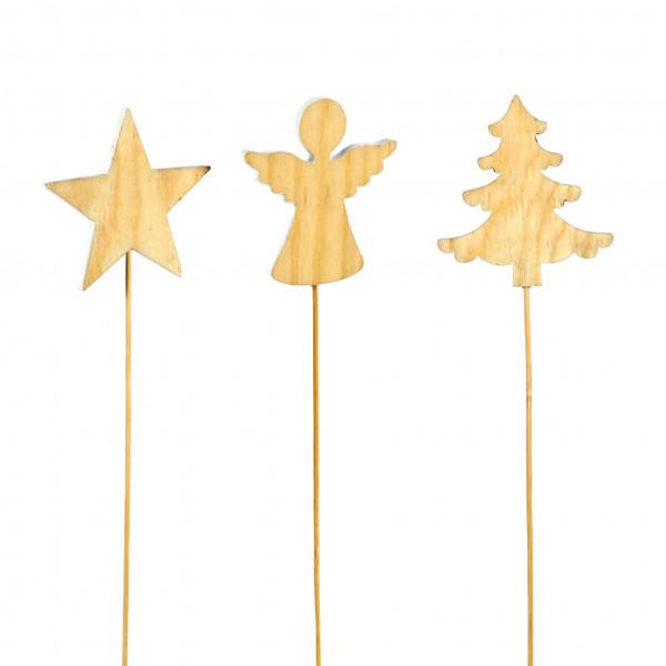 Stecker Weihnacht natur Holz, 8x25 cm 3 Modelle