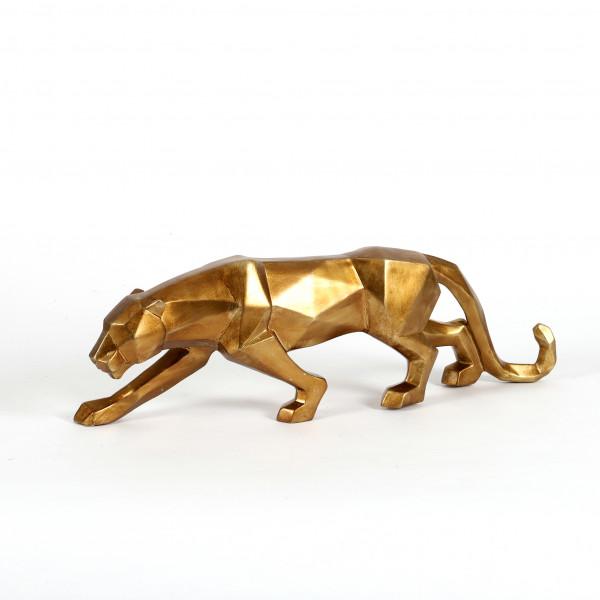 Poly-Leopard schleichend Origami gold 48x10,5x15 cm