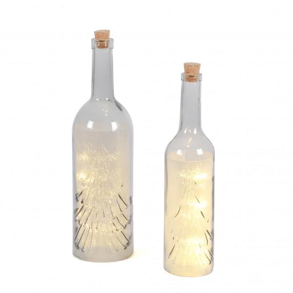 LED Flasche W-Baum mit Glitzerfolie