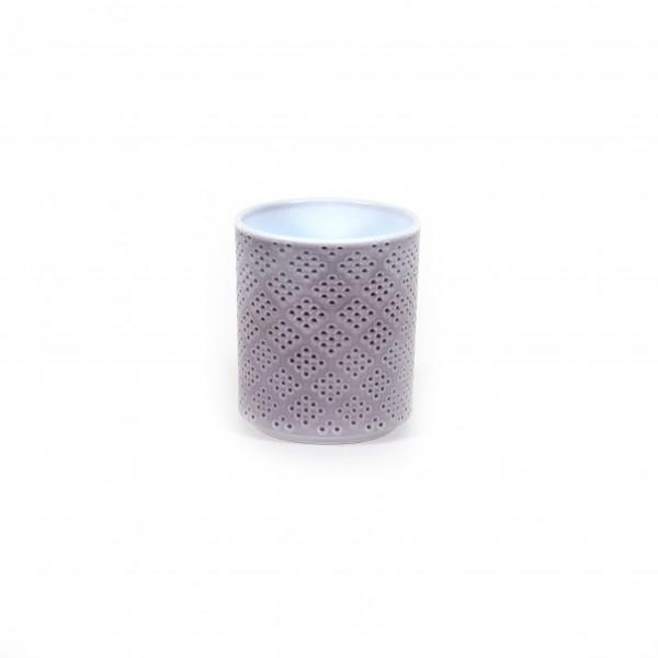 Zylinder-Orchideentopf Würfelstruktur 15cm, grau Lasur
