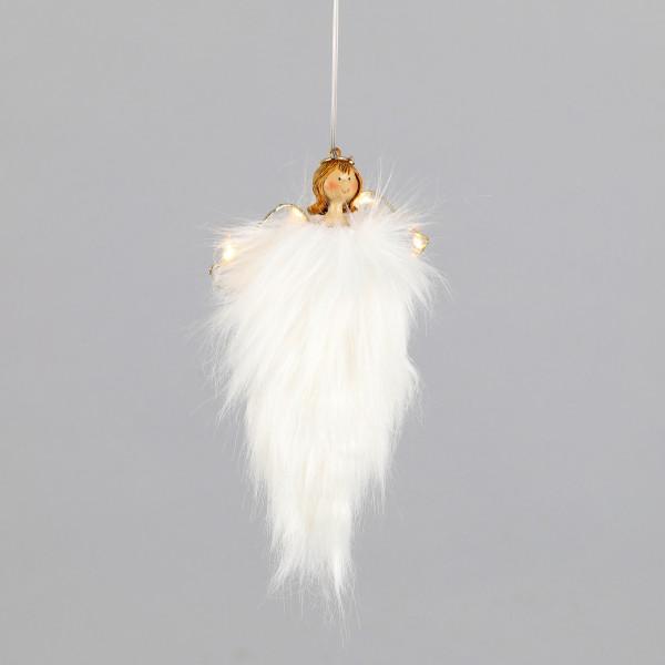 Poly/Plüsch Engel,hänger schlank, weiß LED-Flügel mit timer 6/18h. 12x3xh19cm