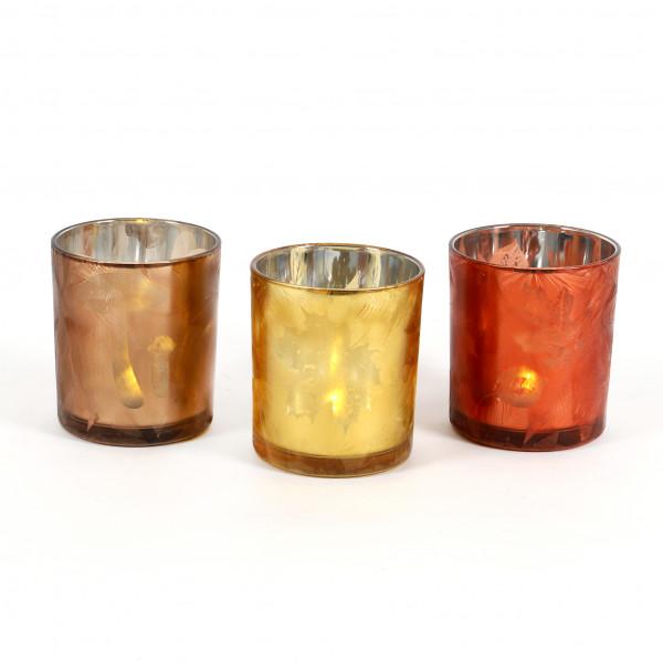 Teelicht 3 fach sort Herbstlaub 9 x 10 cm gelb, orange, grün