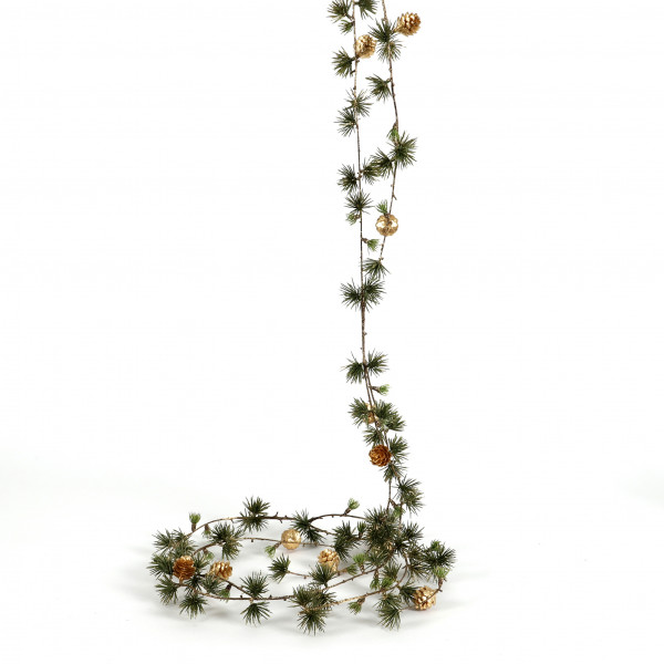 Larixgirlande mit Zäpfchen, 153 cm, gold
