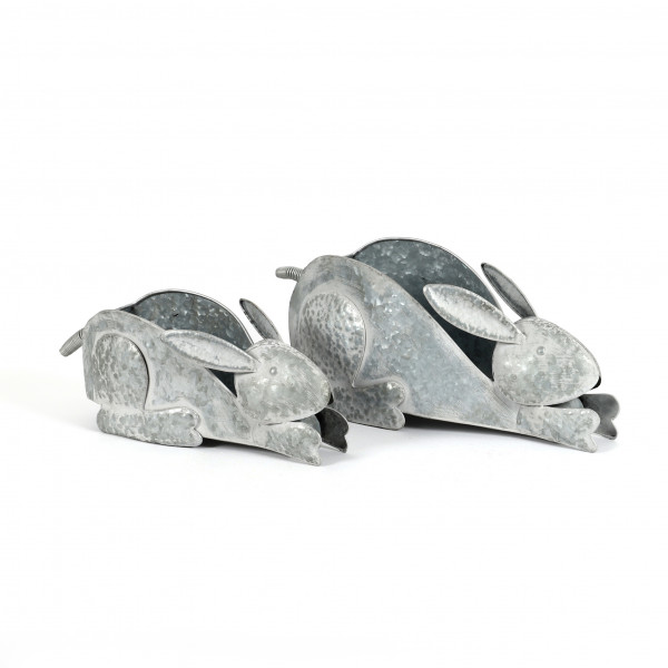 Pflanzgefäß Hase Metall, weiss-antik