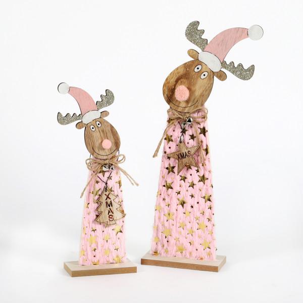 Elch Lulu Holz-Textil, rosa