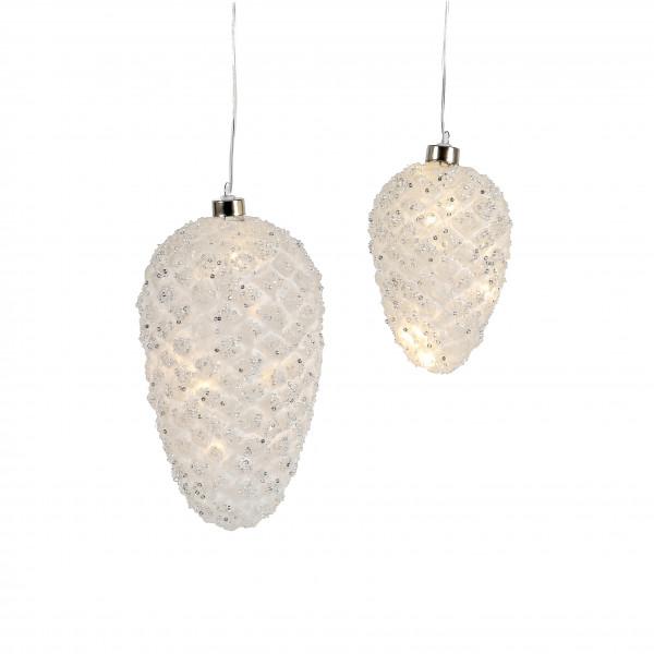 LED Zapfen, zum hängen, weiss gefrostet