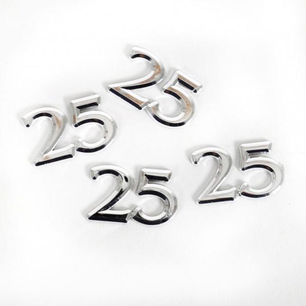 Streuteile Zahl 25 silber Blt. x 4 Stück