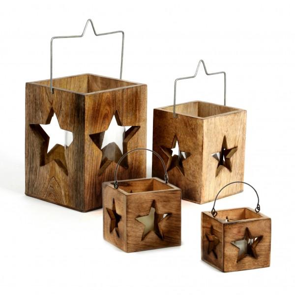 Windlicht Stern, Mangoholz 8x8 x8 cm
