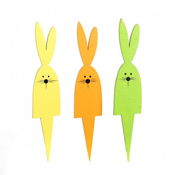 Stecker Hasenpick Holz, 3fb sort. gelb,orange, grün 5x24x0,5 cm
