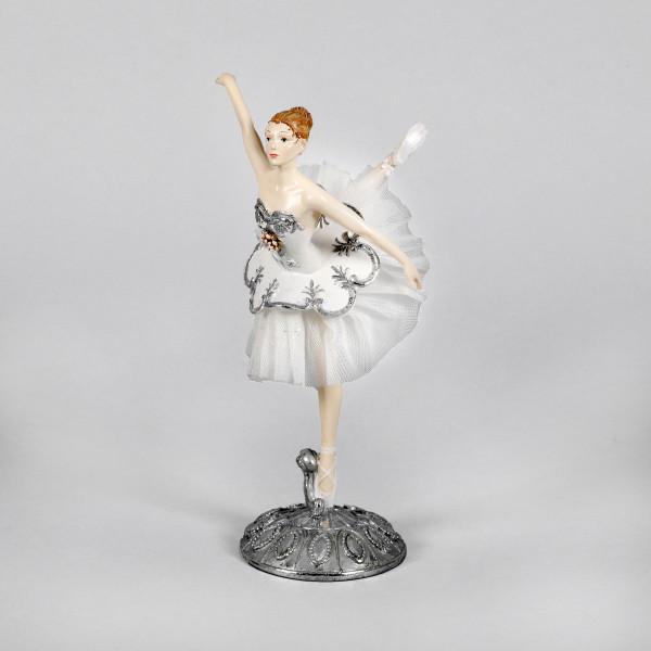 Poly Ballerina auf verziertem Sockel weiß/silber, 12.3x12x24cm