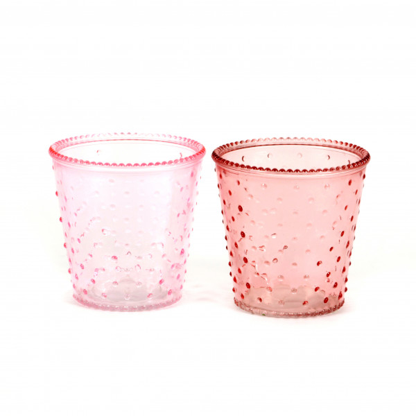Glastopf dots 13,5 x 13,5 cm rosa/hellrosa